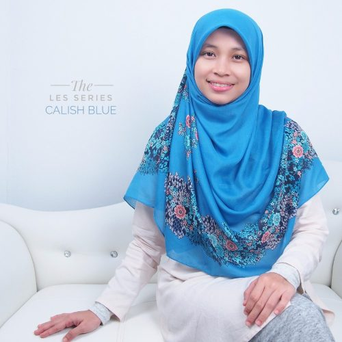 Tudung Bawal Labuh Cotton Turki Bidang 60 Calish Blue