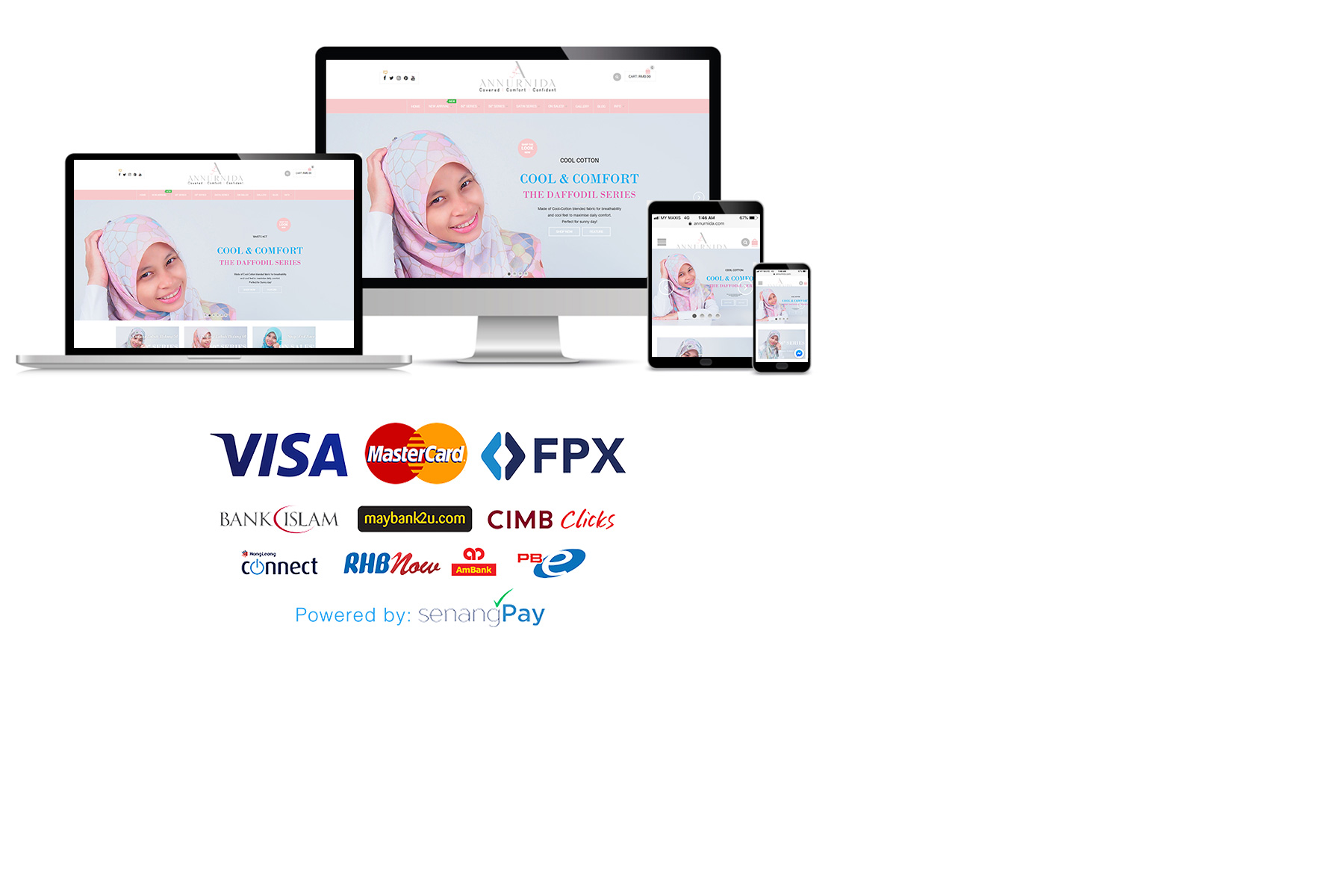 Tudung Bawal Labuh Bidang 60 dan 50 Payment Gateway | AnnurNida