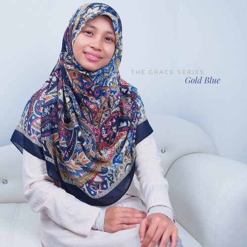 Tudung Bawal Labuh Cotton Turki Bidang 60 Gold Blue