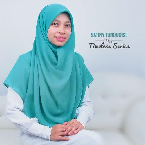 Tudung Bawal Labuh Cotton Turki Bidang 60 Satiny Turquoise