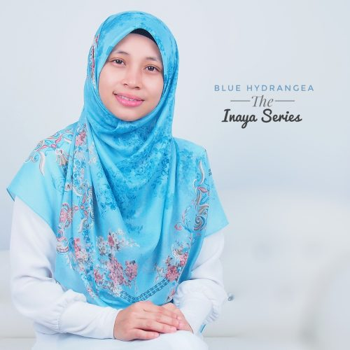 Tudung Bawal Labuh Cotton Turki Bidang 50 Blue Hydrangea