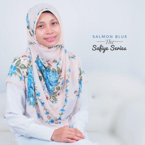 Tudung Bawal Labuh Cotton Turki Bidang 50 Salmon Blue