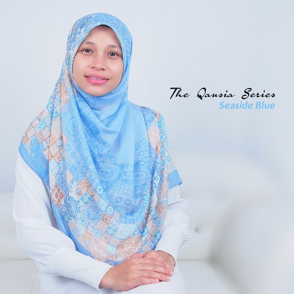 Tudung Bawal Labuh Cotton Turki Bidang 50 Seaside Blue | AnnurNida