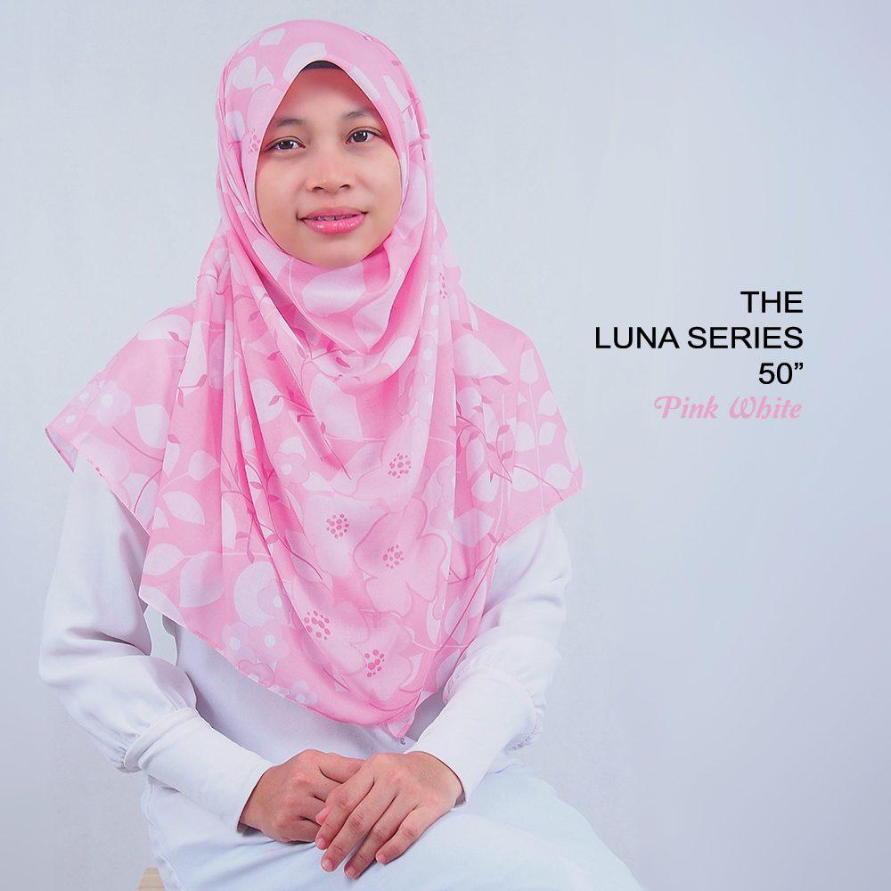 Tudung Bawal Labuh Cotton Turki Bidang 50 Pink White | AnnurNida