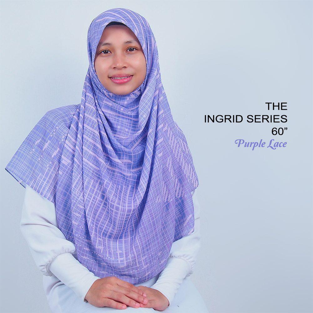 Tudung Bawal Labuh Cotton Turki Bidang 60 Purple Lace | AnnurNida